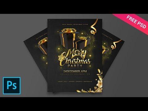 Gold Merry Christmas Flyer - Tutorial Photoshop CC 2019
