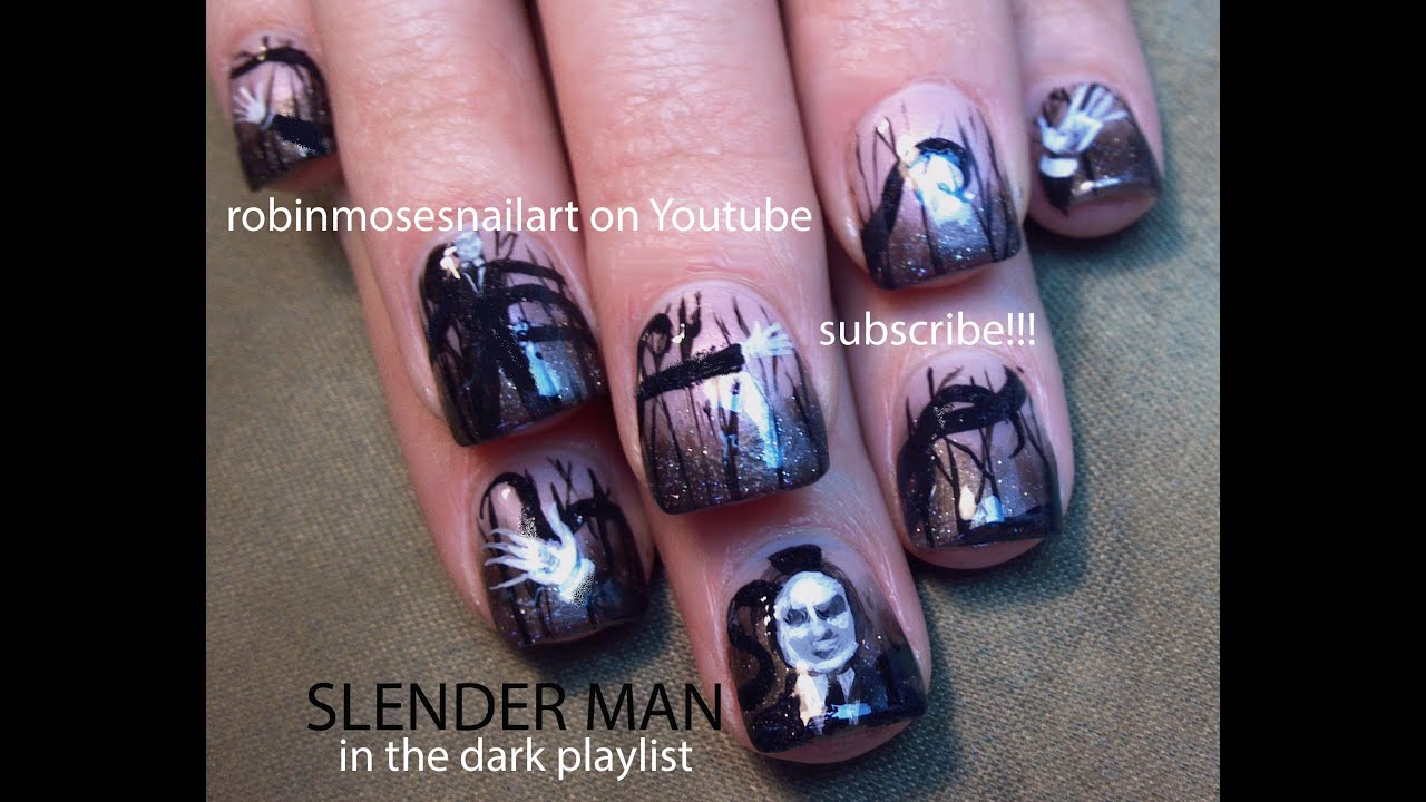 Nail art tutorial diy scary halloween nails slenderman nail nail art tutorial diy scary halloween nails slenderman nail design prinsesfo Images