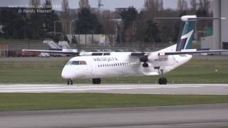 WestJet Encore Q400 takeoff at YVR