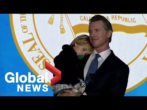California Gov. Gavin Newsom's two-year-old son steals spotlight at inauguration