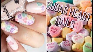 Sugar heart nails   Nail art tutorial