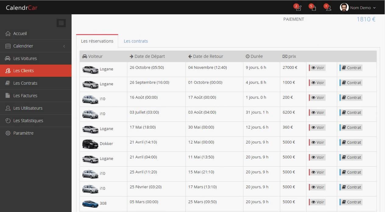 gestion des clients logiciel de location de voitures youtube. Black Bedroom Furniture Sets. Home Design Ideas