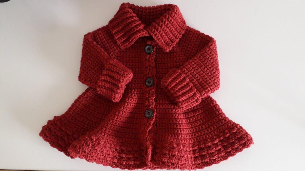 Crochet #29 How to crochet a high neck coat for a girl /Part 1