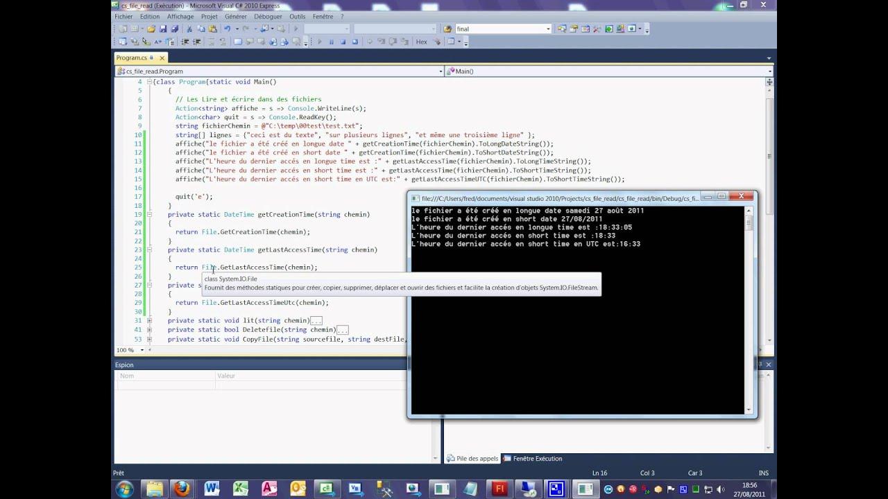 Tutoriel 39 File Get Creation time en C# en français