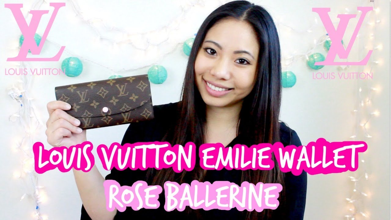 louis vuitton emilie wallet in rose ballerine review youtube
