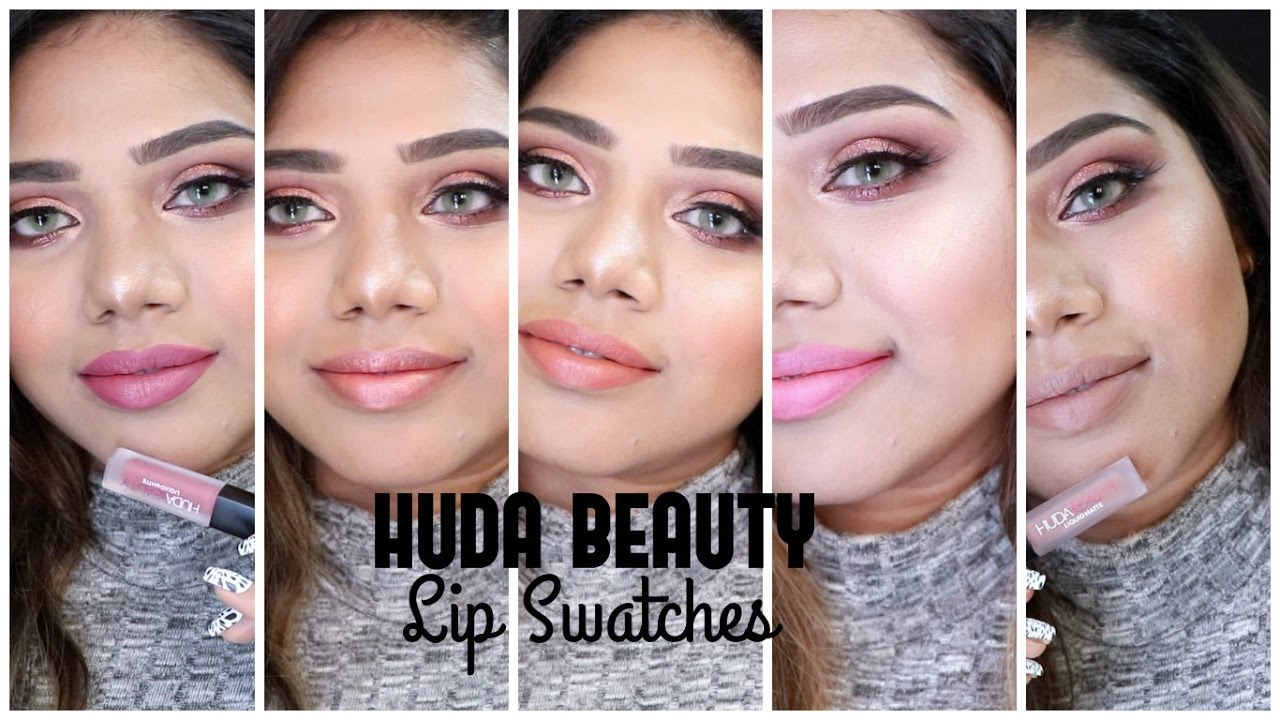 Huda Beauty Liquid Lipstick Mini Swatches On Indian