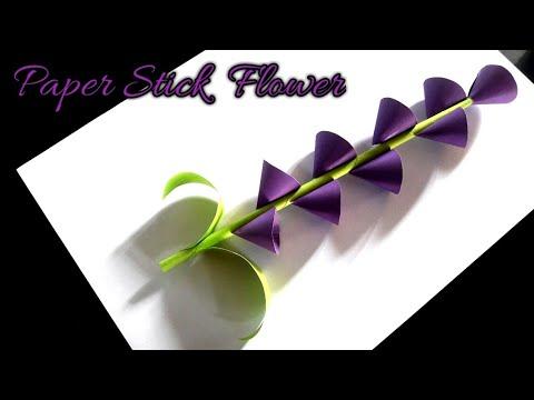 Paper stick flower making video - DIY craft - easy - nupur's handicrafts