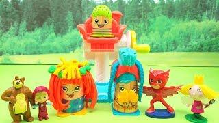 Gufetta Dei Pj Masks Gioca con Il Crazy Cuts Play Doh E Sfida Masha E Orso . Episodio Con Giocattoli