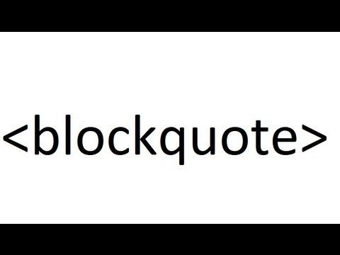 Learn HTML code blockquote - YouTube