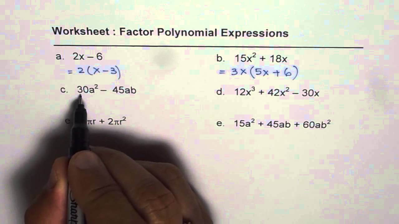 Worksheets Factoring Binomials Worksheet worksheet to factor polynomials youtube polynomials