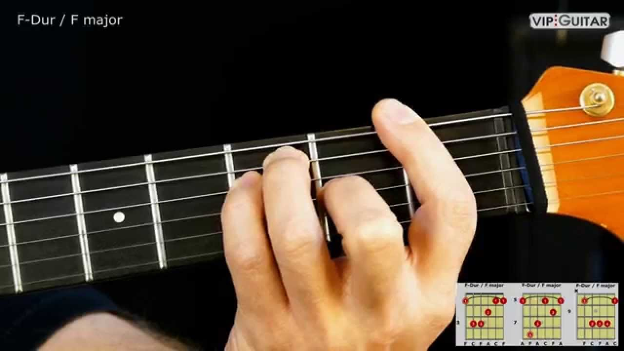 Gitarrenakkorde F Dur Akkord / F major chord