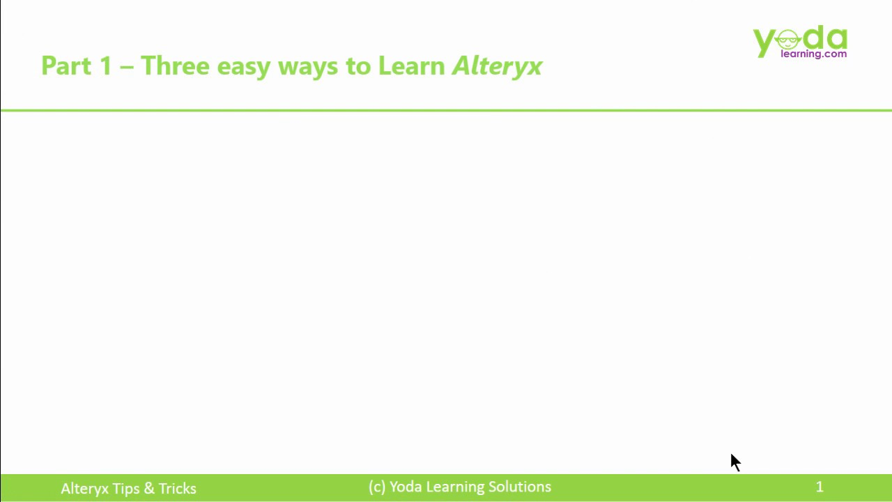 Alteryx Online Course with Certifcation + Tips & Tricks 2018