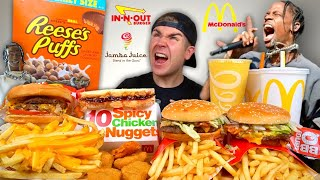 Most Lit TRAVIS SCOTT Mcdonald's & In N Out Mukbang! NEW Meals + Spicy Nuggets + Reese's +