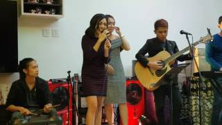 jona sings all i ask at faces and curves christmas party