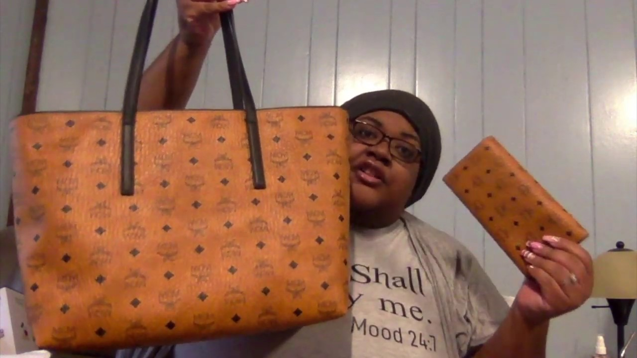 a348fff65 LUXURY UNBOXING: MCM Anya Medium Shopper Tote Bag & Color Visetos Large  Tri-Fold Wallet