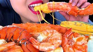 ASMR CHEESY King Crab Lobster Tail Giant Shrimp SEAFOOD Eating Sounds *NO TALKING* | ASMR Phan