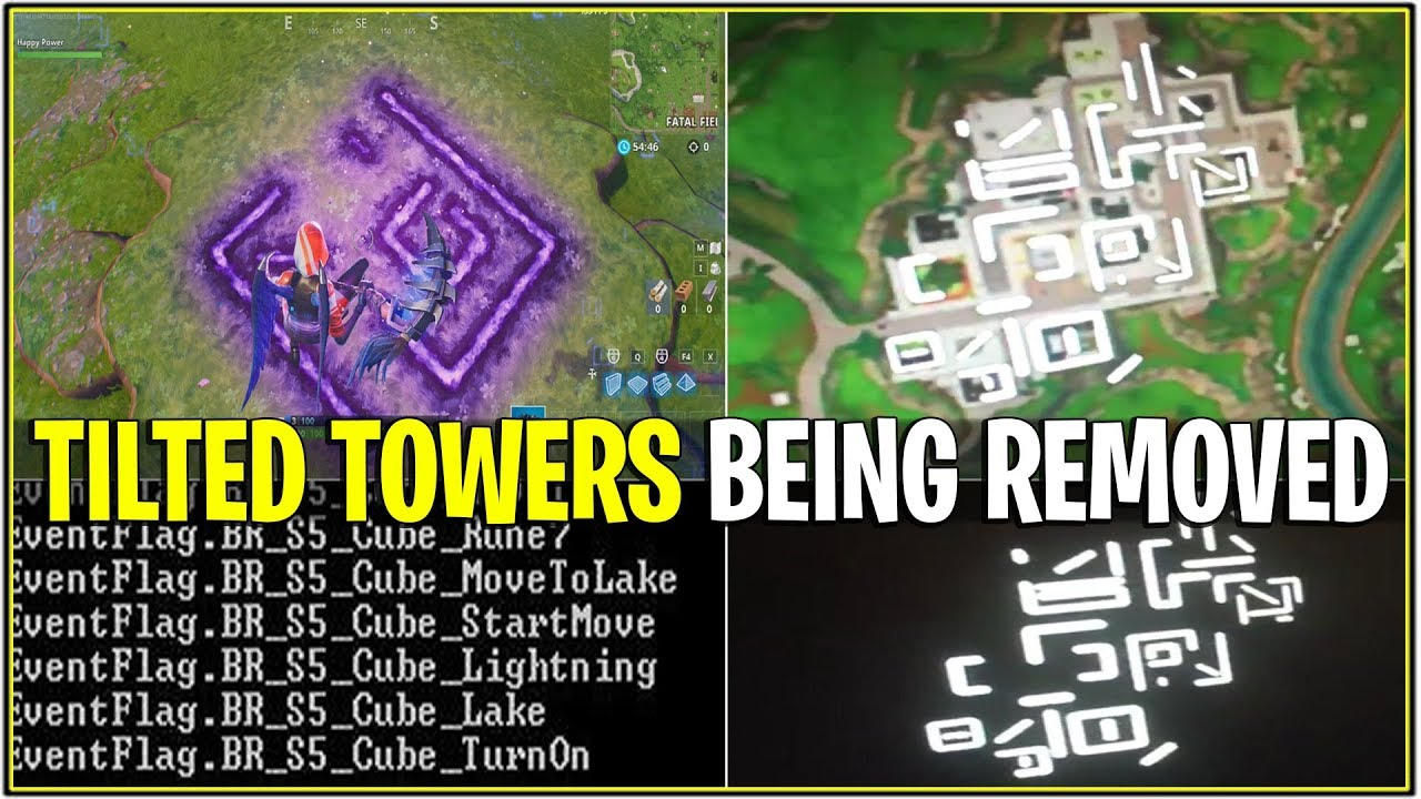 New Fortnite Tilted Towers Being Removed Cube Symbols On Grass