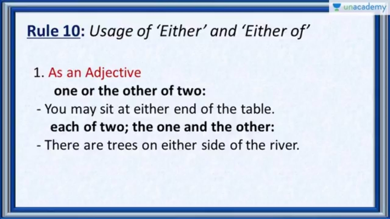 Subject Verb Agreement Rule 10 Use Of Either And Either Of In