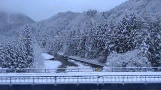 奥羽本線 上り車窓(冬)米沢駅→福島駅