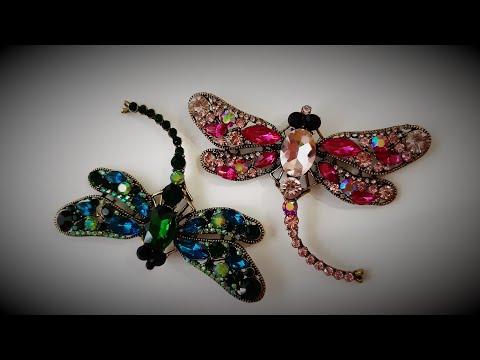 Красивая бижутерия: стрекоза, бабочка, заколка