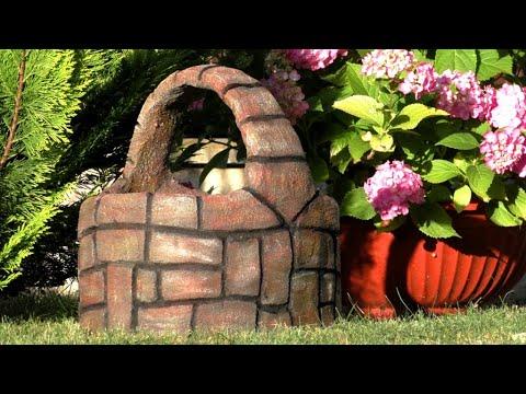 Оригинальное садовое кашпо из цемента своими руками / How to make a cement flowerpot / A - Video