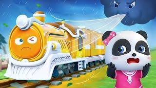 おおかぜはこわくない❤ゆうかんなきしゃ | はたらく車 | 赤ちゃんが喜ぶ歌 | 子供の歌 | 童謡 | アニメ | 動画 | ベビーバス| BabyBus