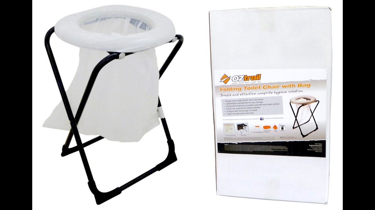 Oztrail Folding Toilet Chair with Bags  sc 1 st  YouTube & Oztrail Folding Toilet Chair with Bags - YouTube