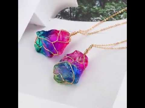 Rainbow Natural Stone : Rainbow natural stone necklace youtube