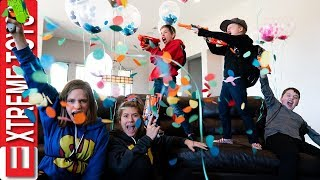 Three Lives Balloon Blast with Super Hero Kids! Confetti, Balloons, and Nerf Blasters!