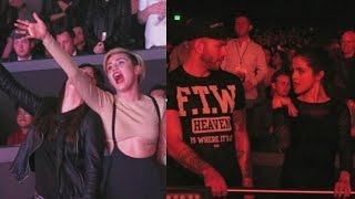 Repeat youtube video Selena Gomez and Miley Cyrus sing and dance at Britney Spears opening night in Las Vegas.