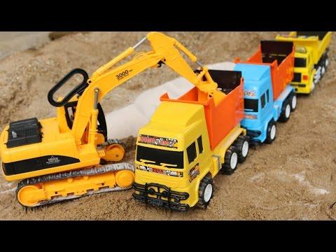 ของเล่นรถแม็คโคร รถตักดิน รถดั้มต่อคิวบรรทุกทราย Diggers For Children Excavator