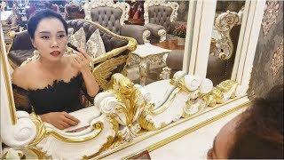 Bàn trang điểm Victoria cổ điển dát vàng