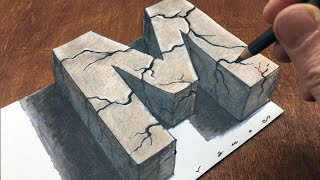 How to Draw Stone Letter M - Drawing with Charcoal Pencil and Marker - By Vamos