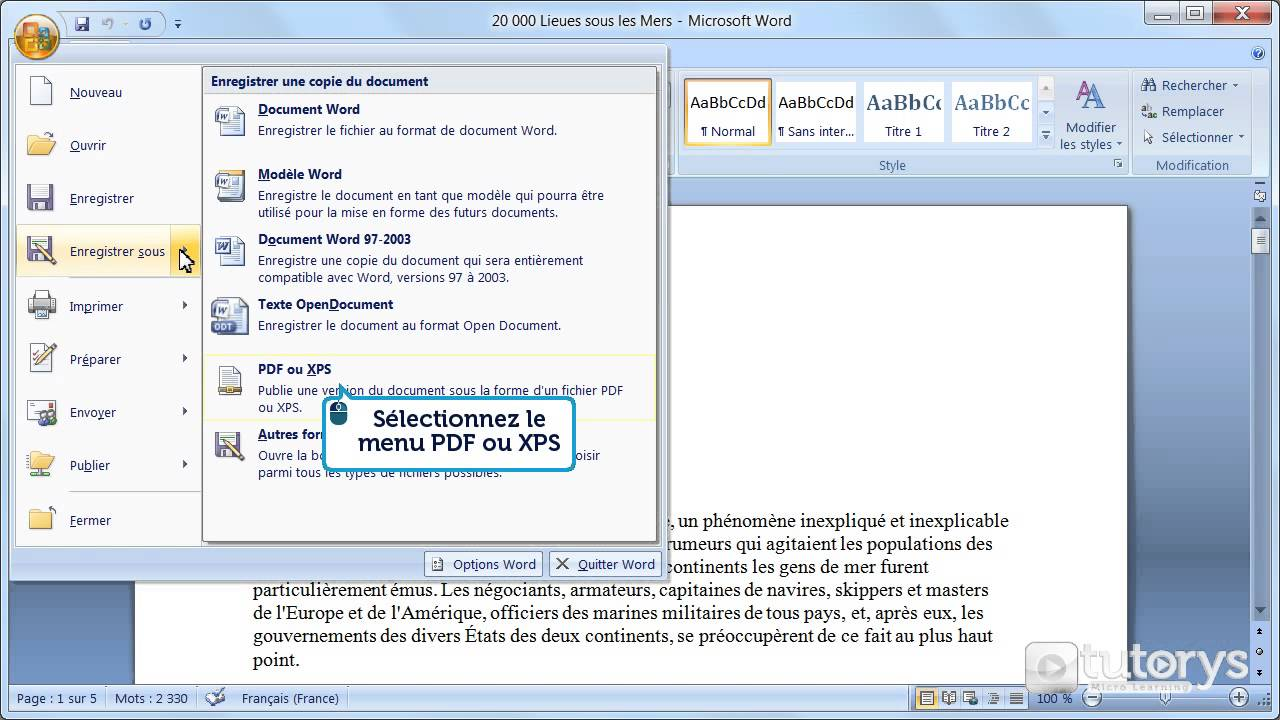 word enregistrer en pdf photo cv