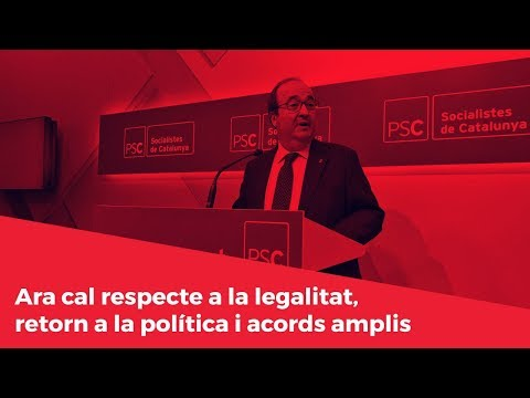 Ara cal respecte a la legalitat, supremacia de la política i acords amplis