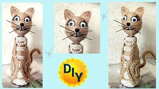 Кошка из джута. Отличный подарок . DIY/рукоделие.