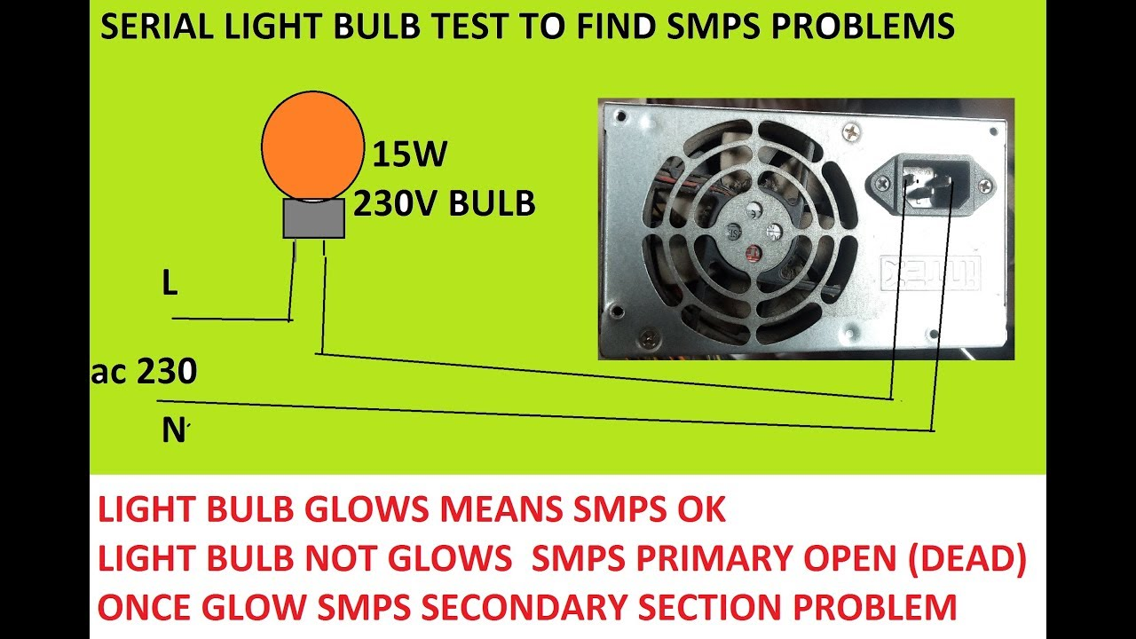 CHECKING SMPS WITH SERIES BULB CONNECTION - YouTube