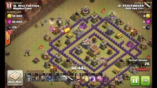 clash of clans cara menggunakan th 8 strategy gowipe attack 3 stars amazing ASB 2nd City