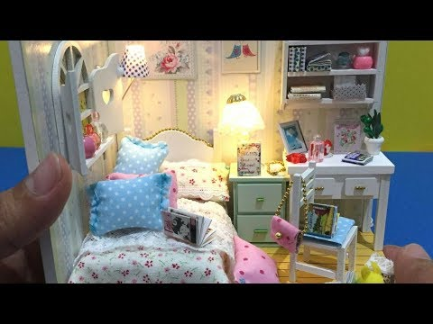 Diy Miniature Dollhouse Bedroom With Furniture And Led Lights
