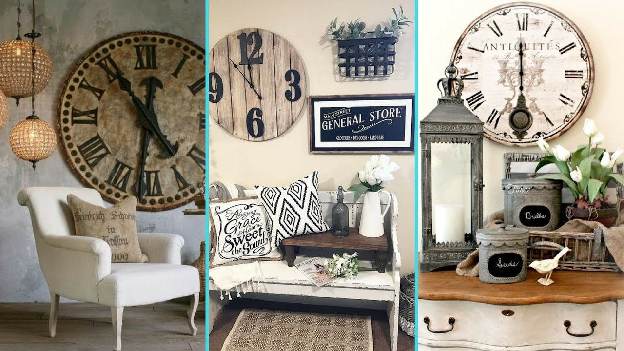 DIY Rustic Shabby chic style Wall Clock decor Ideas