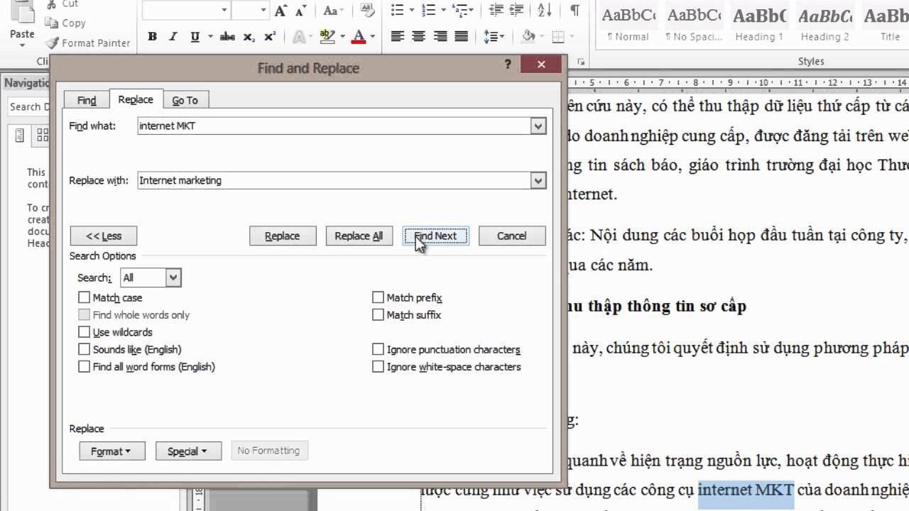 Cách tìm kiếm và thay thế từ, cụm từ, đoạn văn bản trong Word 2010