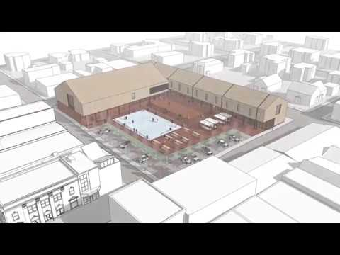 video of concept design of exterior building facade and grounds for arts and culture centre