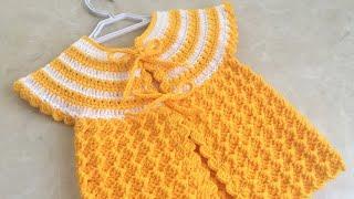 Вязаный крючком желтый детский жилет с сахаром / жилет с рисунком для маленьких девочек