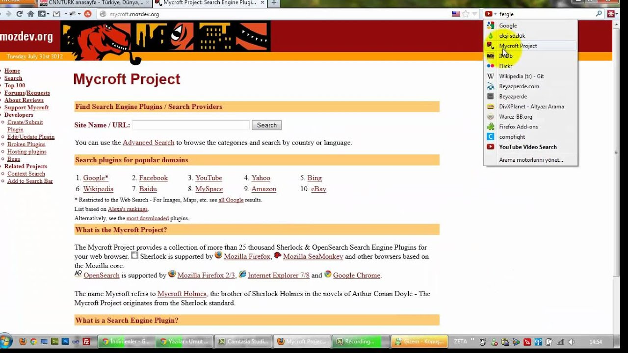 Mozilla Firefox'ta Arama Motoru Kullanmak