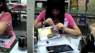 Конвейер по изготовлению планшетов на заводе в Китае(Показан рабочий процесс, направленный на изготовление дешевых планшетов, стоимостью в районе 50 долларов., 2013-03-17T14:05:31.000Z)