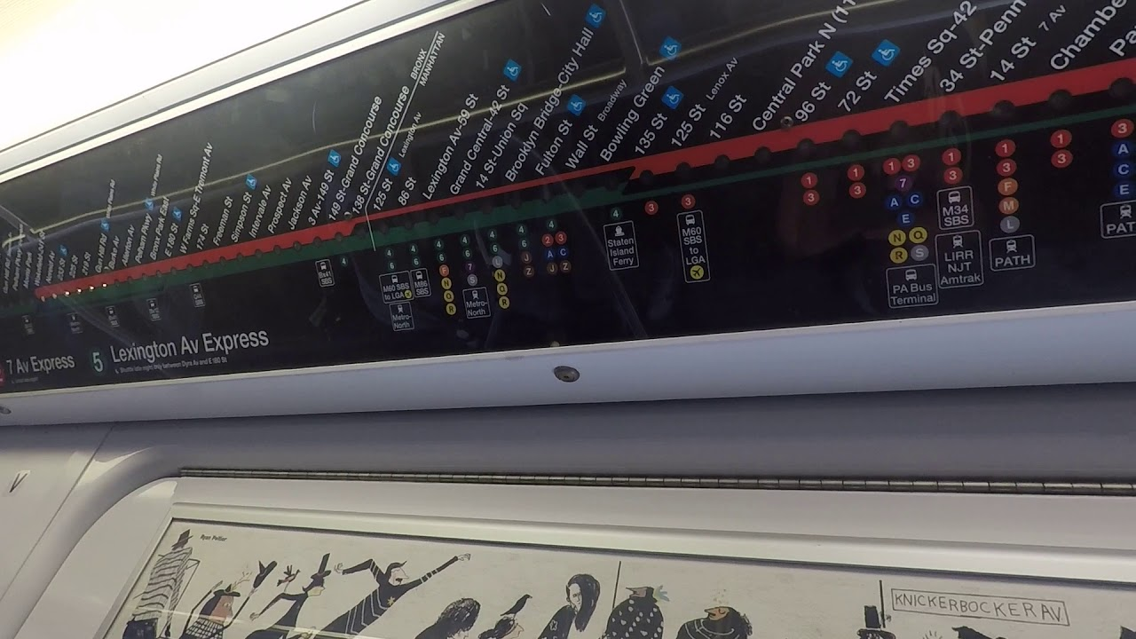 4 Train Subway Map.ᴴᴰ Nyc Subway R142 4 Train With 2 And 5 Train Strip Map