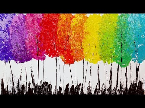 Easy Rainbow Trees Palette Knife Abstract Acrylic Painting Tutorial LIVE