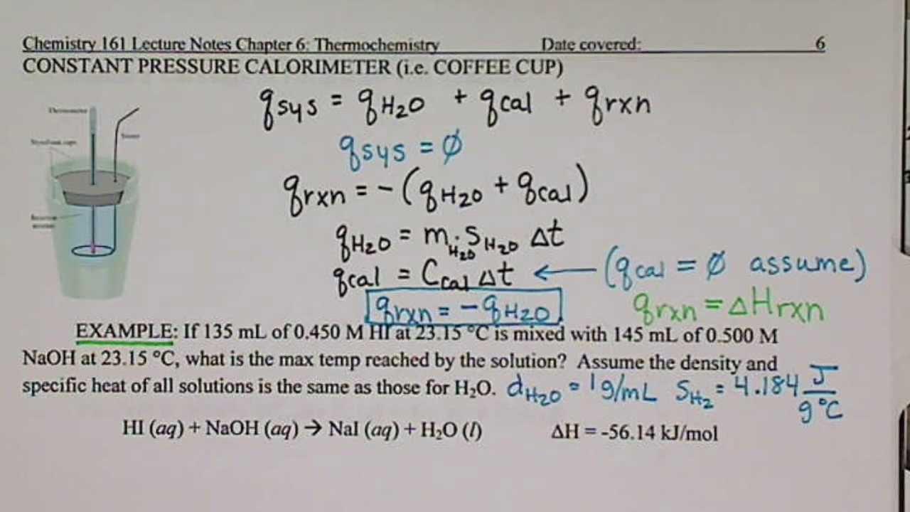Calculate Coffee Cup Calorimeter With Water In Calorimeter