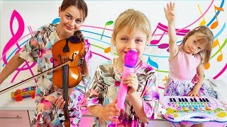 Merry Margo & Nastya Pretend Play with Musical Instrument Toys for Kids & Sing Nursery Rhymes