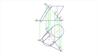 Построение проекций точек пересечения наклонного цилиндра прямой линией